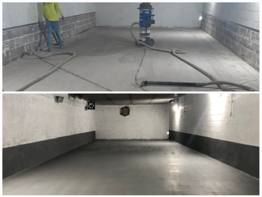wash room floor installation